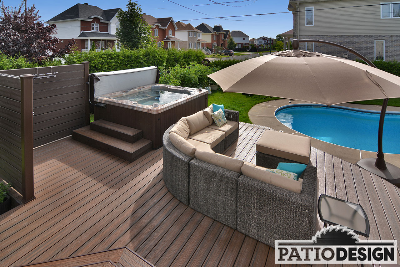 Design construction and installation of patios around a for Construction piscine